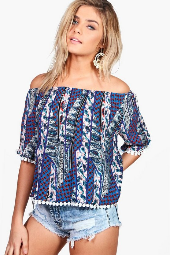 Hannah Printed Off The Shoulder Top