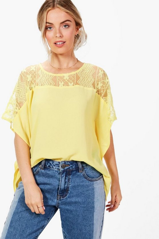 Lucy Lace Panel Crepe Top