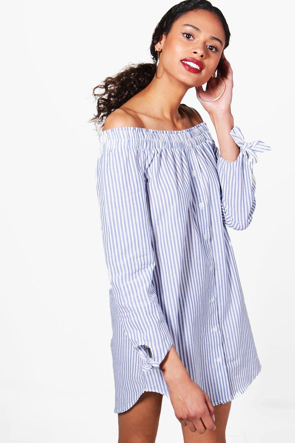 ea3c05f21f45 Savanna Stripe Bardot Shirt Dress. Hover to zoom
