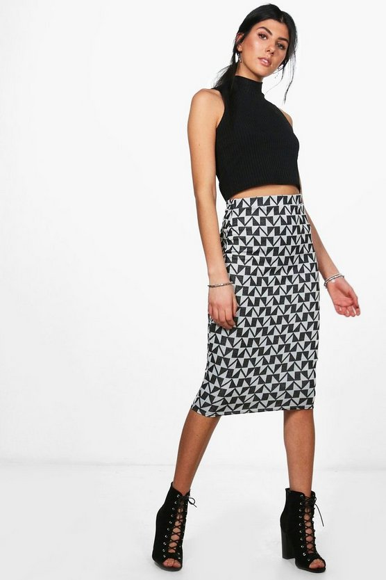 Cate Knitted Geo Midi Skirt