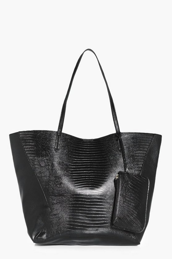 Womens Black Amelia PU Panelled Tote & Purse Attachment