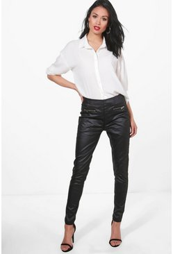 Womens Black Raya Leather Look Coated Skinny Trousers