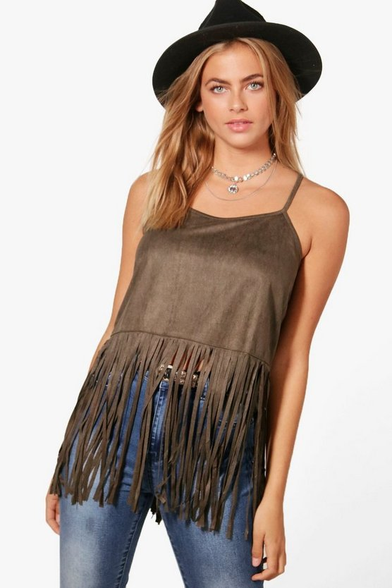Piper Strappy Vest With Tassle hem