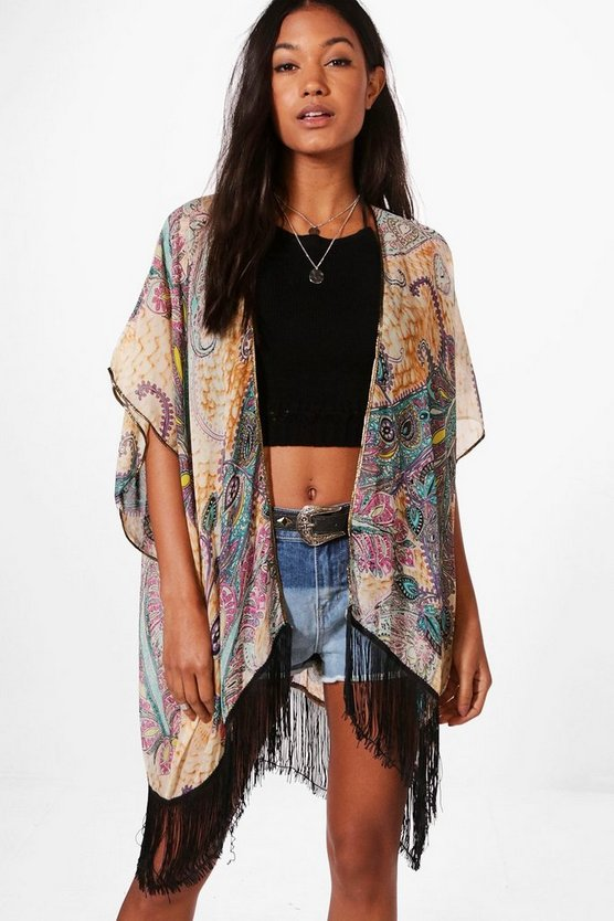 Womens Orange Kelly All Over Printed Kimono With Tassles