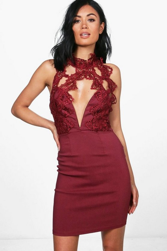 Anna Lace Trim Halter Neck Dress