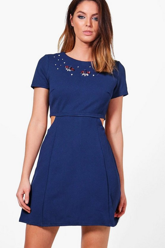 Womens Navy Martha Cut Out Embellished Dress