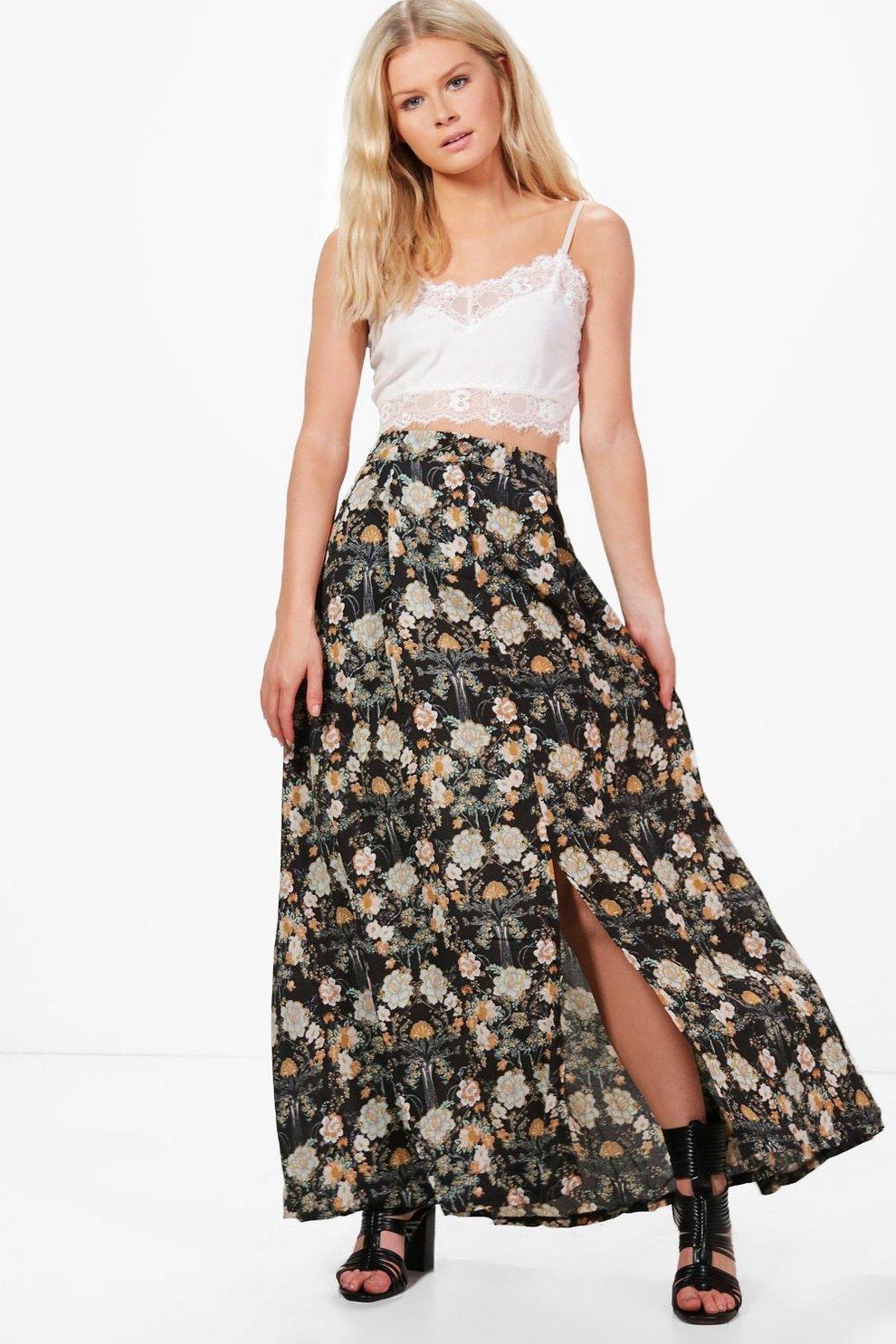 309b20ccb94 Harriet Floral Print Maxi Skirt | Boohoo