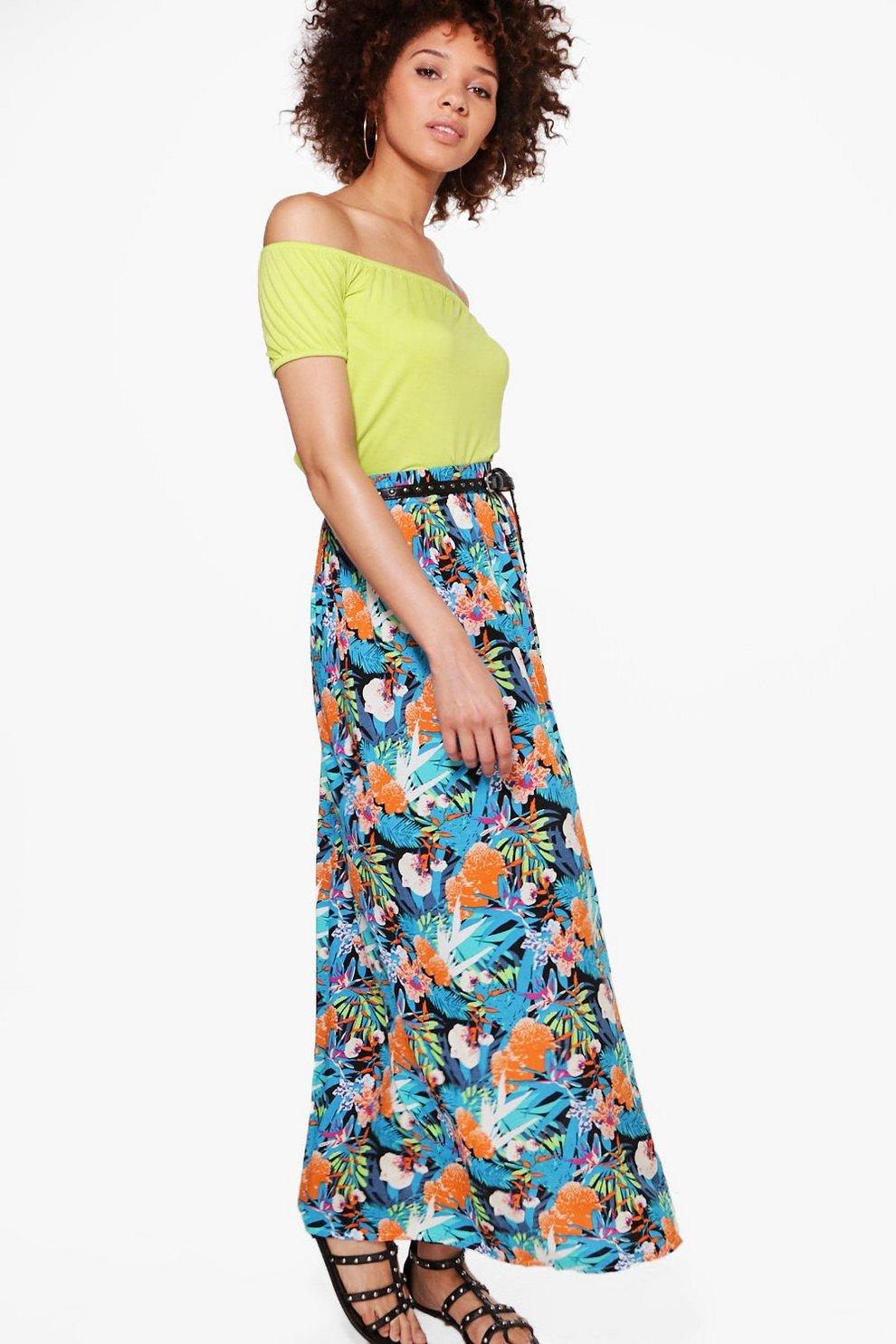 21a01da7e45 Luna Tropical Print Maxi Skirt