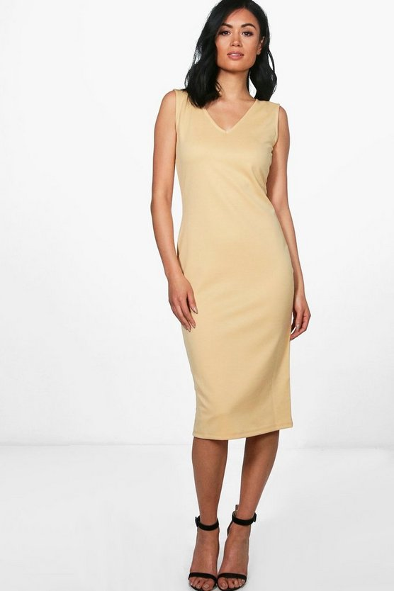 Orlagh V Neck Sleeveless Midi Dress