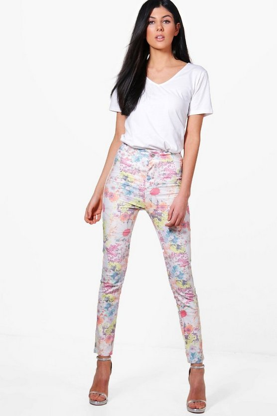Lara High Rise Floral Tube Jeans