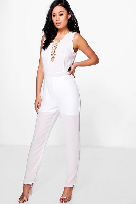 Womens White Ria Lace Up Cut Out Detail Jumpsuit