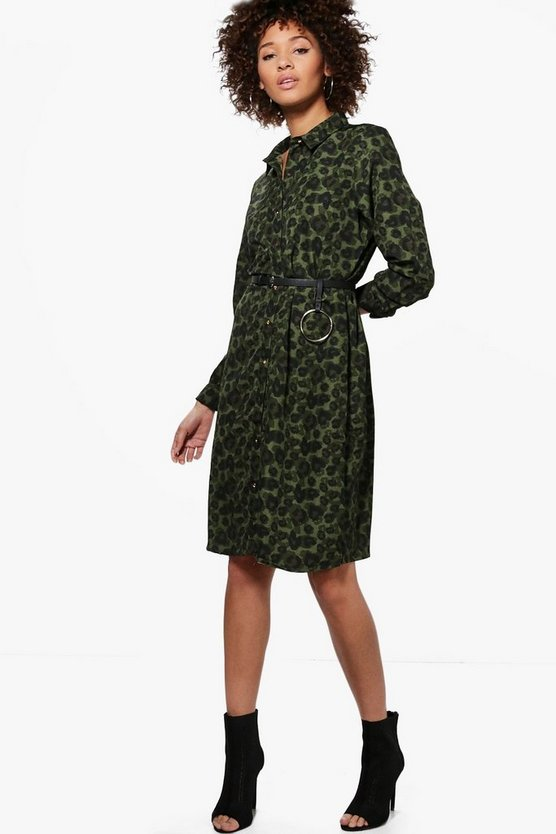 Lexis Long Sleeve Printed Midi Shirt Dress