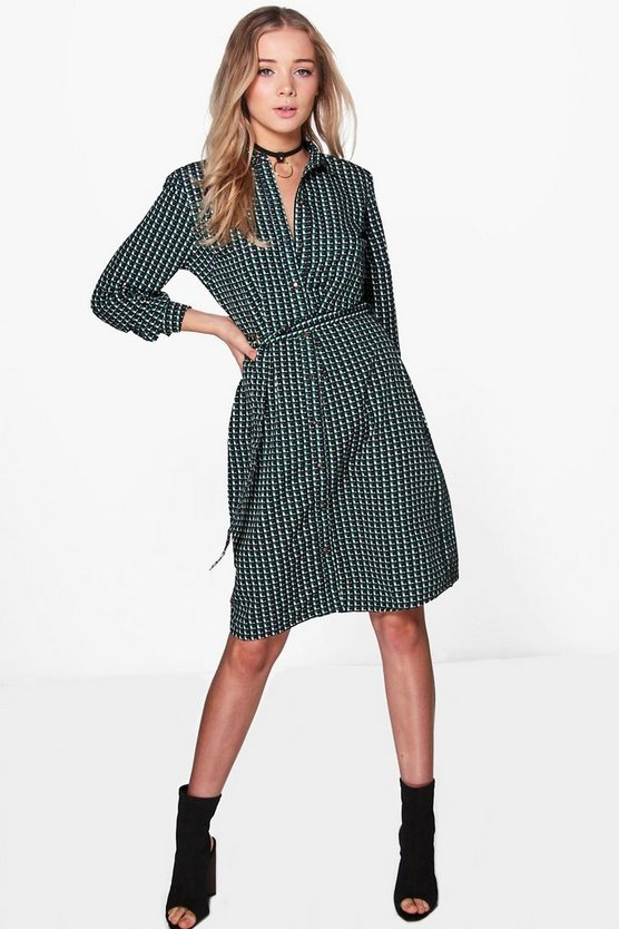 Twila Geo Print Belted Shirt Dress