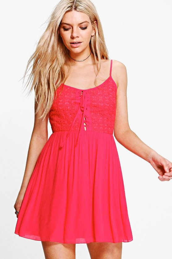 Womens Red Ashton Lace Up Detail Skater Dress