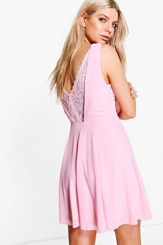 Lace Back Detail Skater Dress