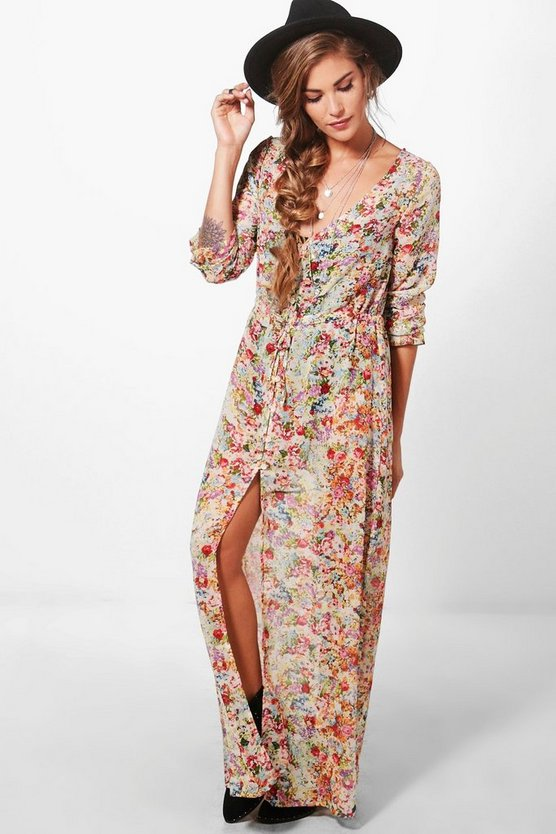 Lorna Long Sleeved Button Up Maxi Dress