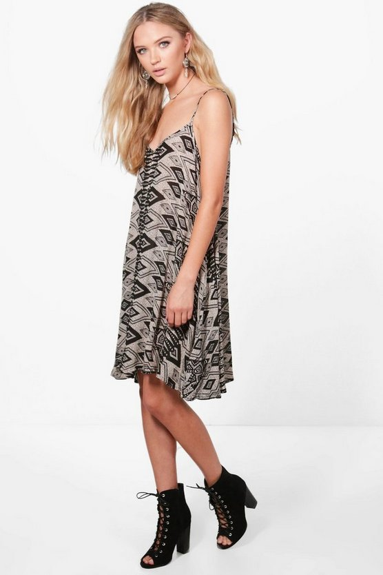 Edwina Printed Strappy Swing Dress