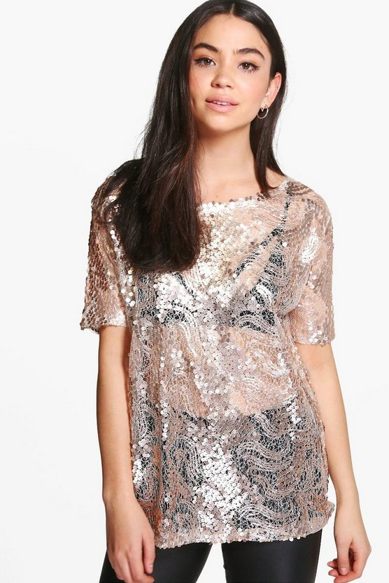 Womens Gold Charlie Oversized Sequin Body Tee