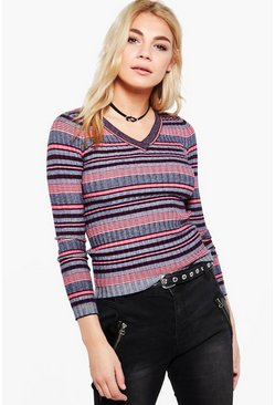 Womens Red Harriet Stripe V-Neck Jumper
