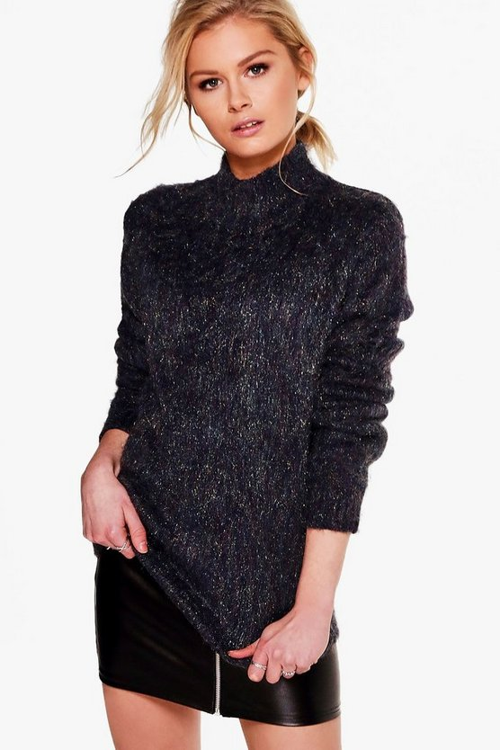 Reyna Metallic Yarn Funnel Neck Jumper