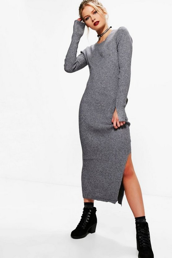 Beth Rib Side Split Jumper Dress