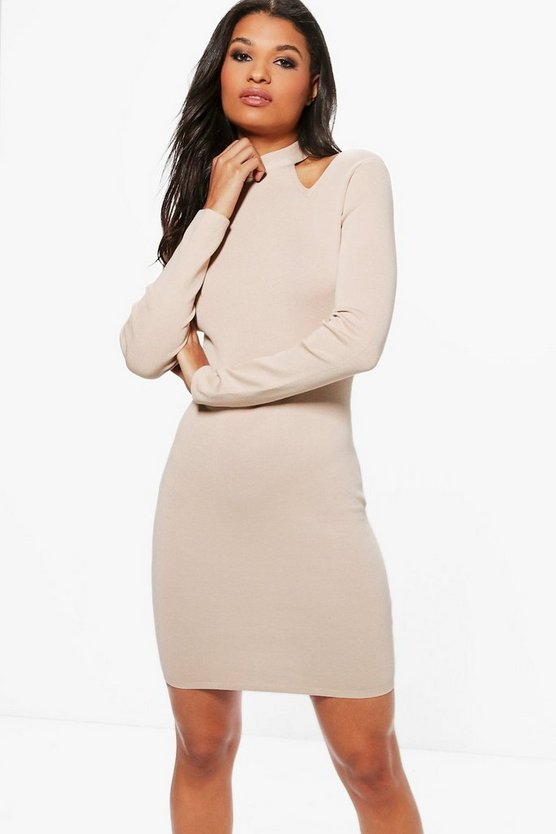 Beige Lottie High Neck Cold Shoulder Knitted Dress