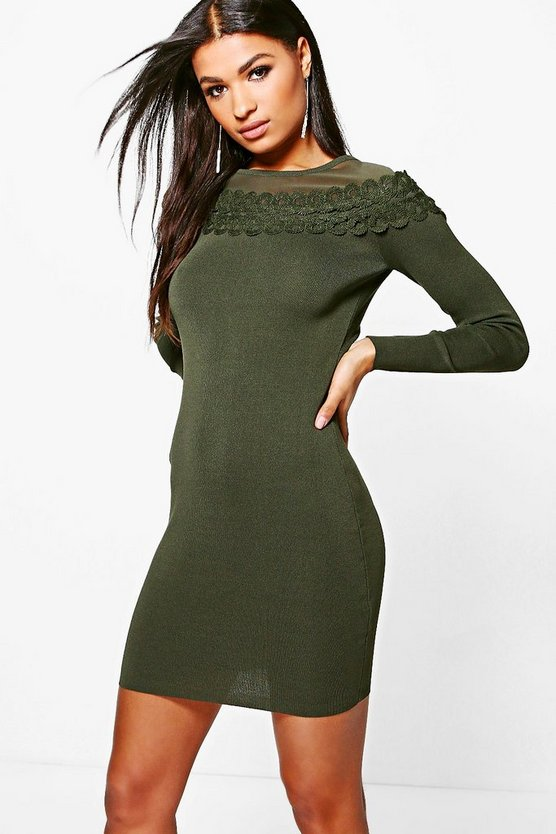 Sarah Crochet Trim Bodycon Dress