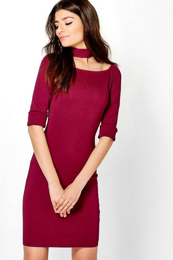 Womens Wine Freyja Choker Knit Dress