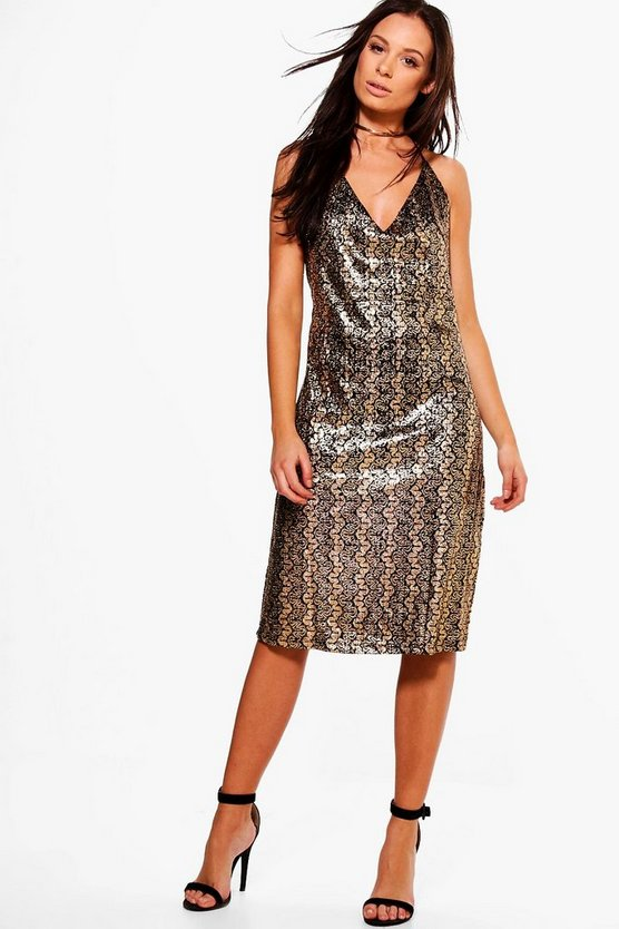 Carey Metallic Strappy Dress