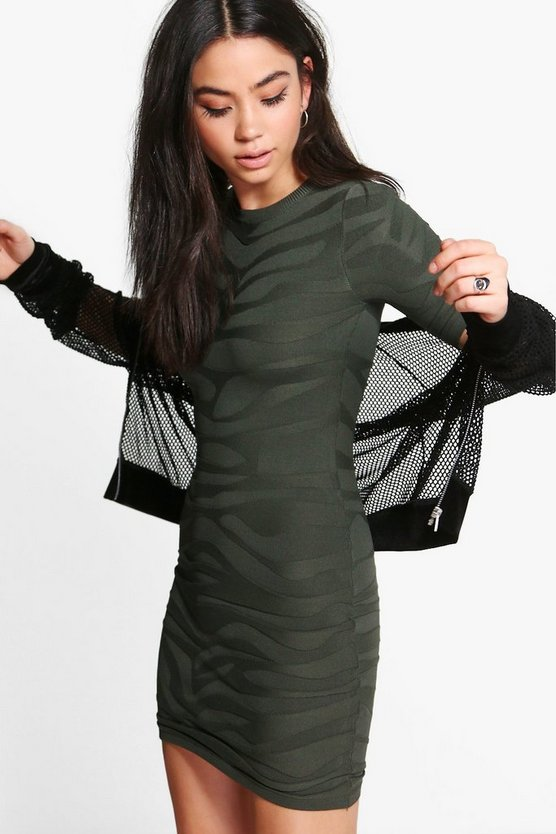 Textured Long Sleeve Dress