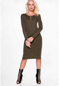 Womens Khaki Demi Split Hem Long Sleeve Dress