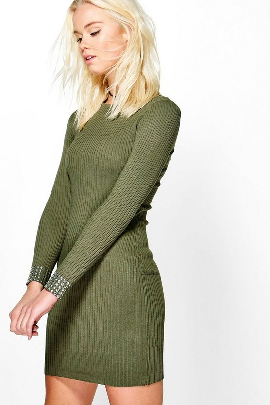 Sara Studded Cuff Long Sleeve Dress