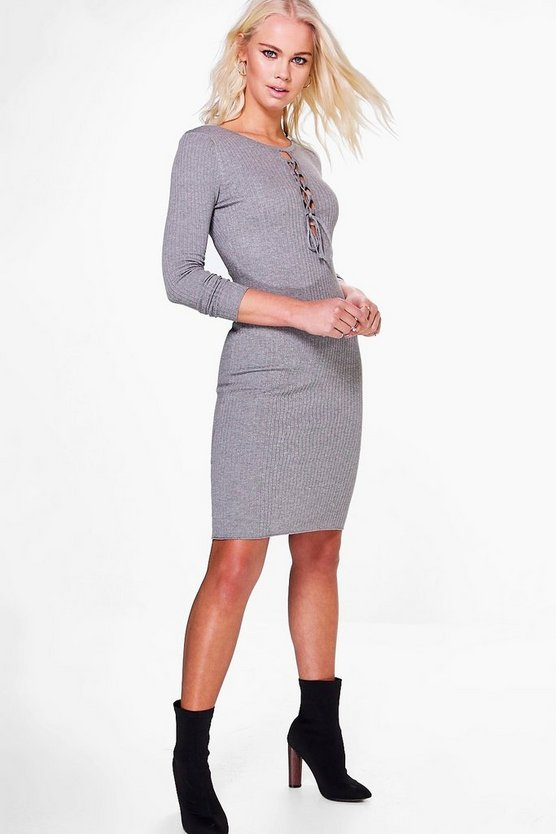 Womens Grey Ashleigh Lace Up Front Bodycon Dress