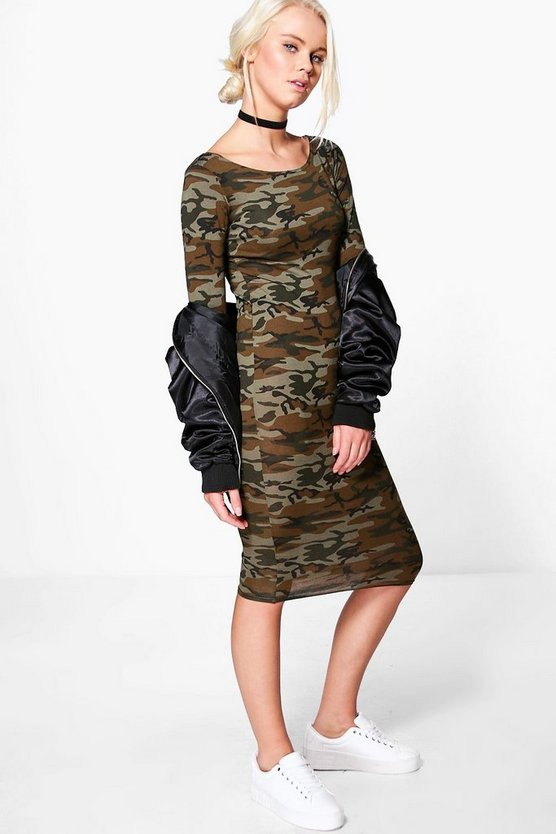 Erin Camo Long Sleeve Midi Dress
