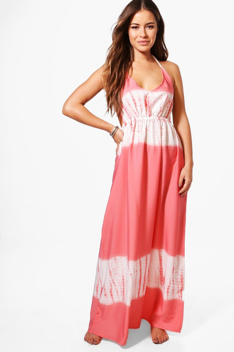 ba5e51decf Petite Tie Dye Maxi Beach Dress | Boohoo