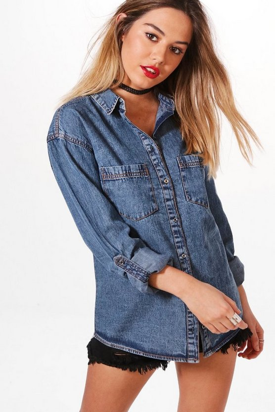 Womens Blue Petite Lydia Denim Shirt