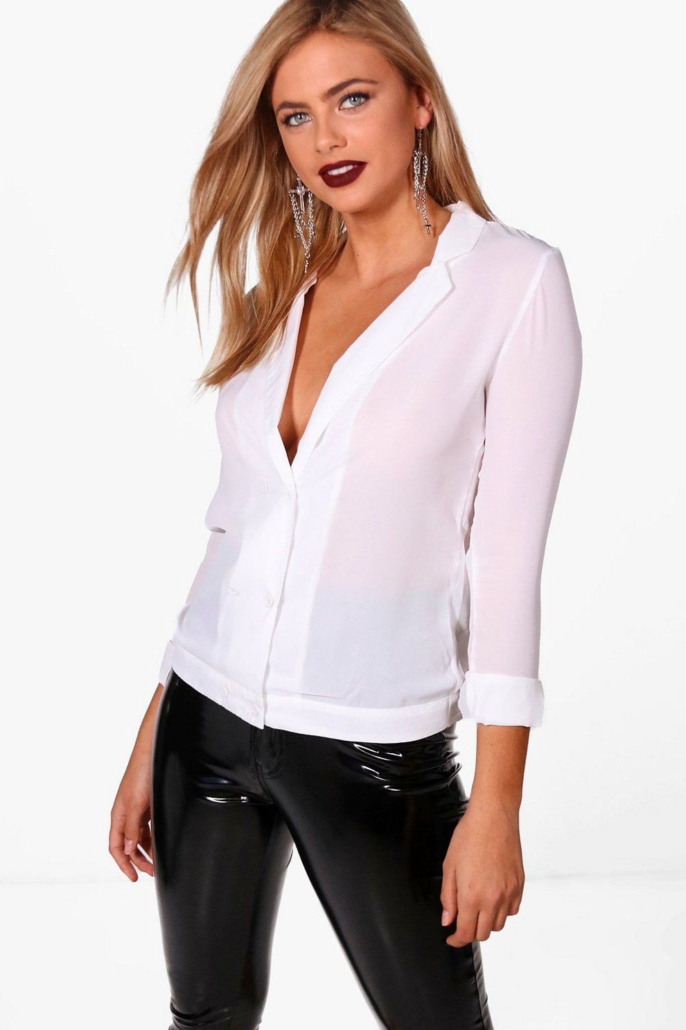 2a77866ed99 Freya Chiffon Double Breasted Blouse