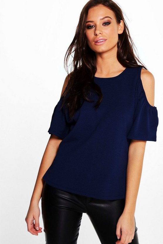 Womens Navy Jayne Textured Cold Shoulder Top