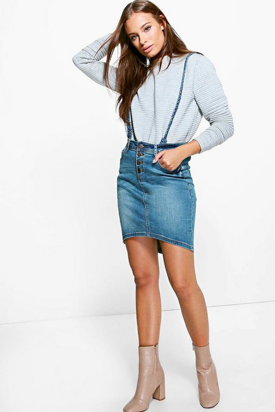 Lacey Button Front Denim Pencil Skirt with Braces
