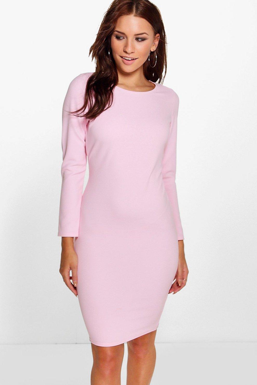 688d64b7886a Womens Pink Cara Midi Bodycon Dress