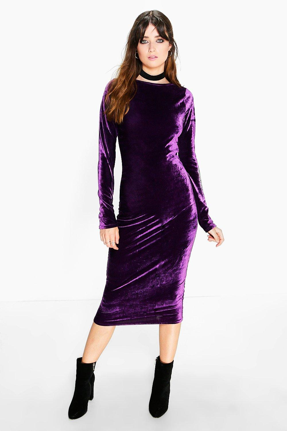 80e5dacd2bae Ella Velvet Bodycon Midi Dress. Hover to zoom