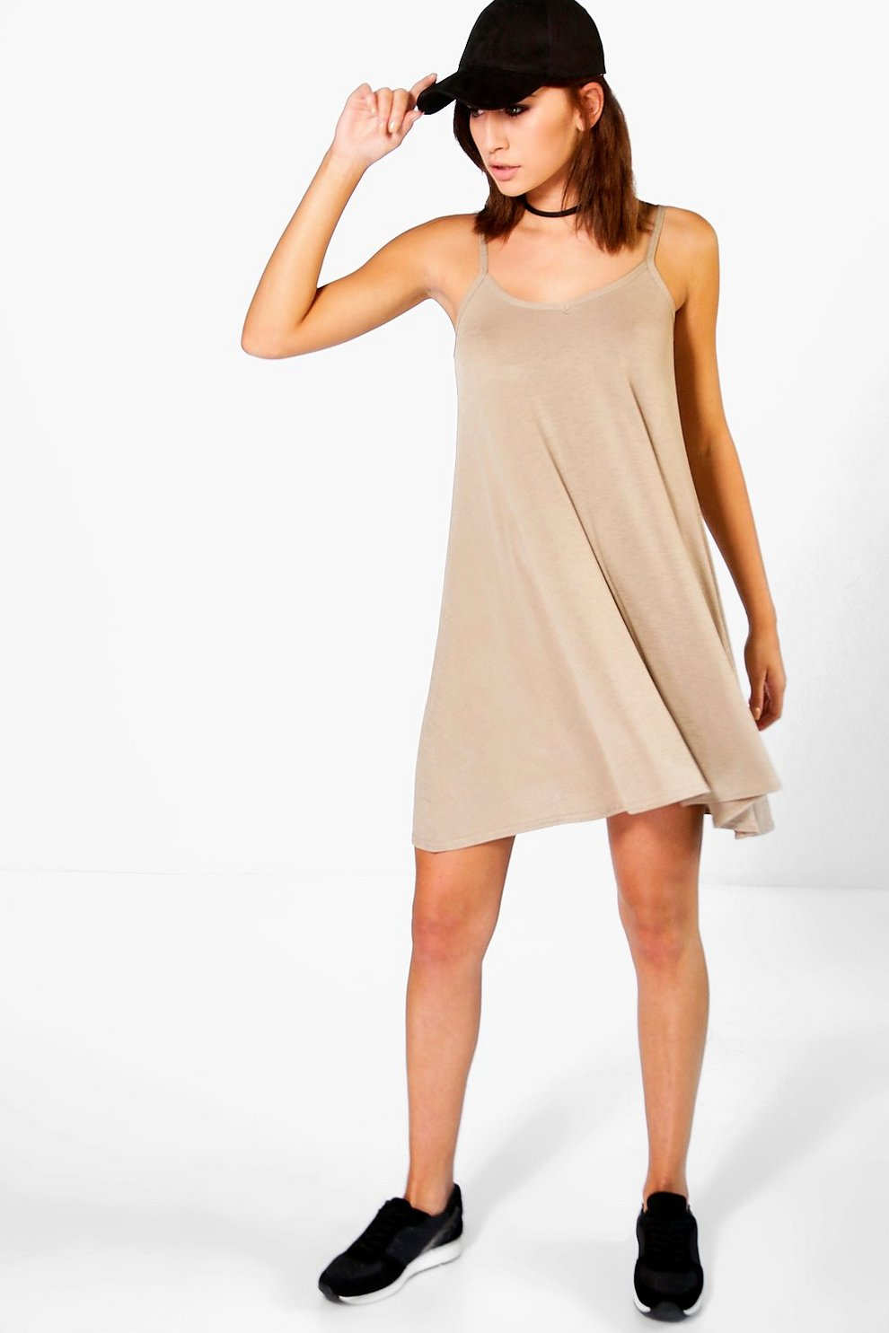 ab3770335cf44 Womens Mocha Scarlett Plain Swing Dress