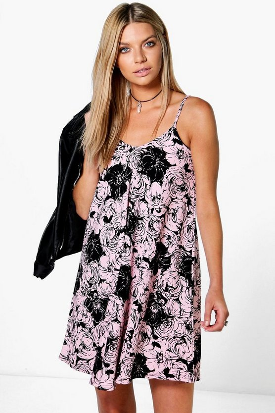 Rose Strappy Swing Dress