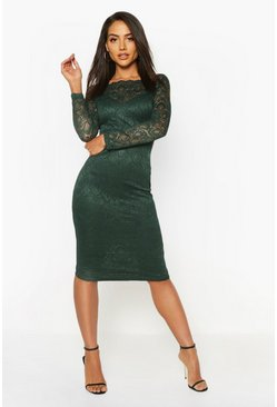 Teal Slash Neck Lace Detail Midi Dress