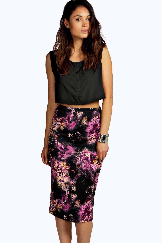 48b948d85d6b BUY boohoo Lucy Floral Scuba Midi Shirt - multi