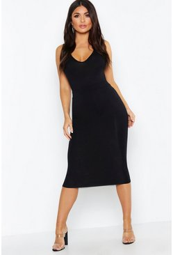 Womens Black Basic Midi Skirt