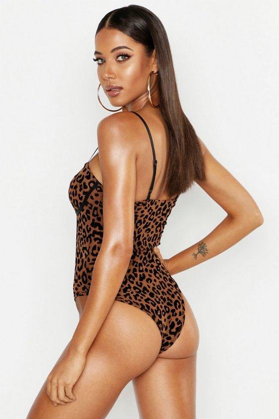 Premium Leopard Mesh Cupped Bodysuit