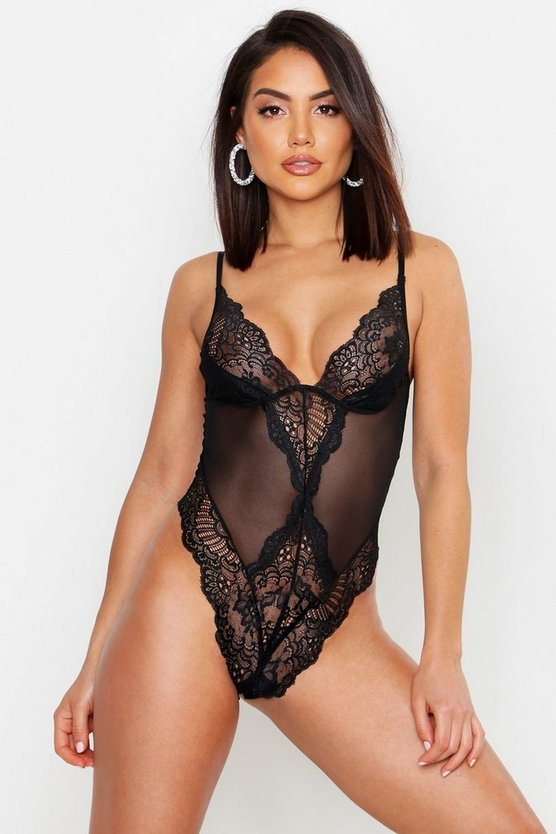 Womens Black Premium Lace Mesh Bodysuit
