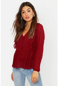 Womens Berry Woven Ruffle & Pleated Blouse