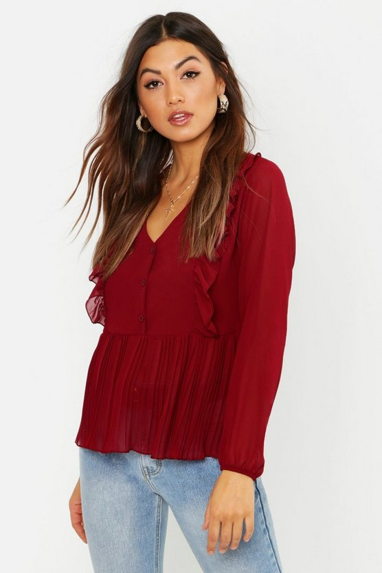 Woven Ruffle & Pleated Blouse